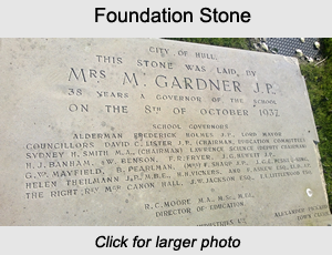 The foundation stone from Kingston High School now located at the Sirius Academy